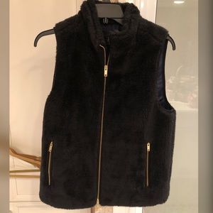 J Crew Black Faux Fur Vest